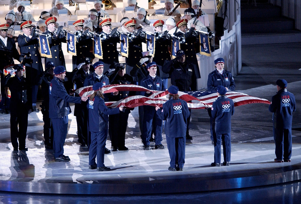 Todd Eldredge - Honor Guard carrying the World Trade Center flag at the opening ceremonies for the 2002 Winter Olympics
